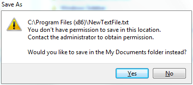 Prompt if need elevated permission to save on Windows (and